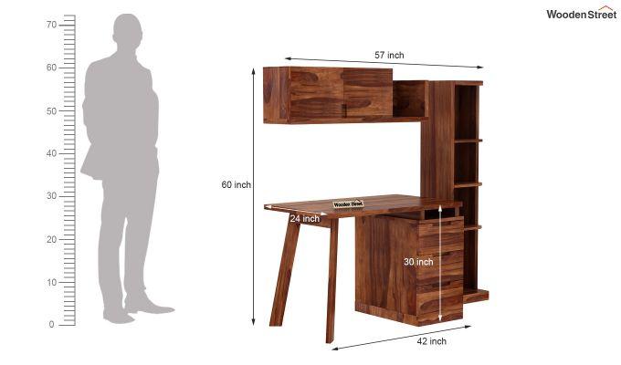 Adolf Study Table With Drawers (Teak Finish)-11