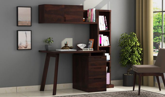 Adolf Study Table With Drawers (Walnut Finish)-1