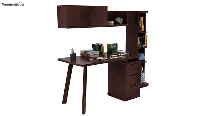 Adolf Study Table With Drawers (Walnut Finish)-2