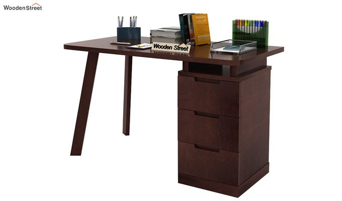Adolf Study Table With Drawers (Walnut Finish)-3
