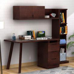 Adolf Study Table With Drawers (Walnut Finish)