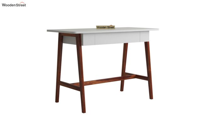 Ambra Study Table with Frosty White Drawer (Honey Finish)-2