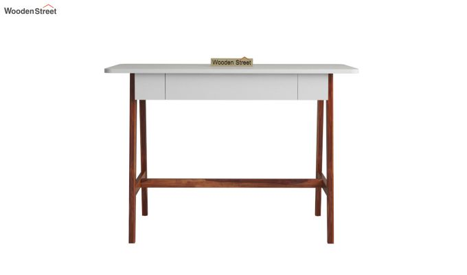 Ambra Study Table with Frosty White Drawer (Honey Finish)-3