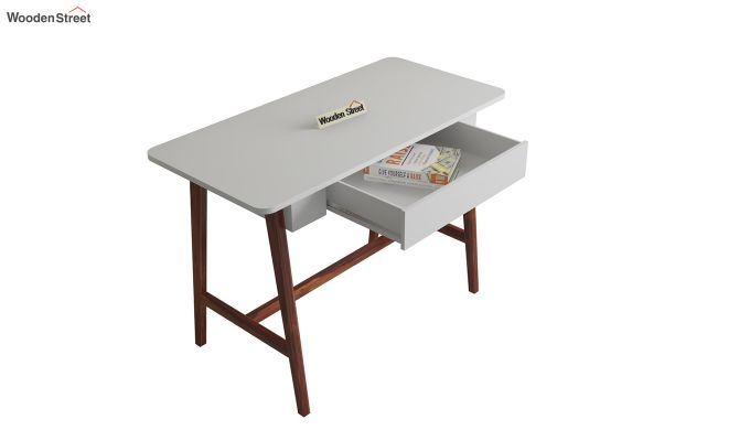 Ambra Study Table with Frosty White Drawer (Honey Finish)-4