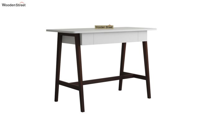 Ambra Study Table with Frosty White Drawer (Walnut Finish)-2