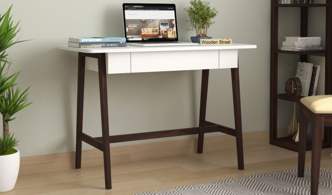 Ambra Study Table with Frosty White Drawer (Walnut Finish)-1