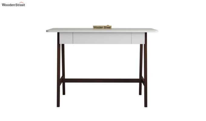 Ambra Study Table with Frosty White Drawer (Walnut Finish)-3
