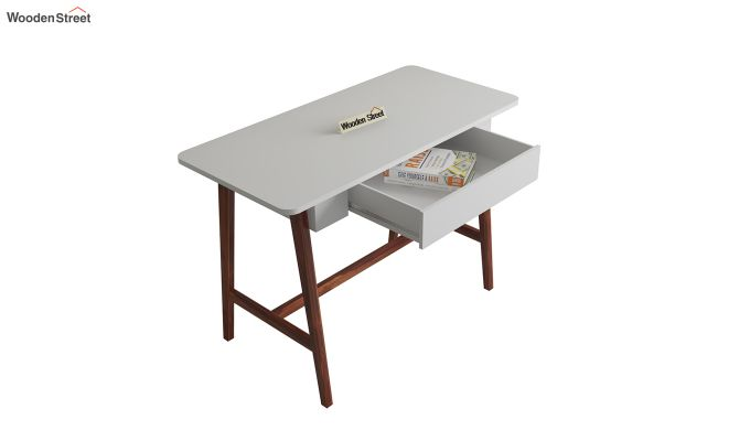 Ambra Study Table with Frosty White Drawer (Walnut Finish)-4