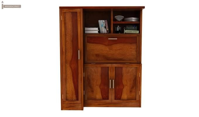 Amstel Study Table Cum Bookshelf (Honey Finish)-1