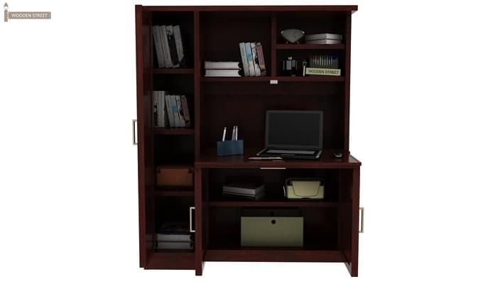 Amstel Study Table Cum Bookshelf (Mahogany Finish)-4