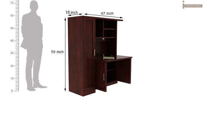 Amstel Study Table Cum Bookshelf (Mahogany Finish)-9