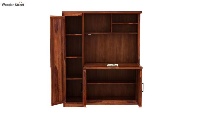 Amstel Study Table Cum Bookshelf (Honey Finish)-6