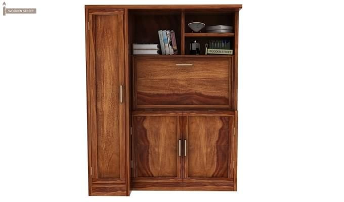Amstel Study Table Cum Bookshelf (Teak Finish)-1