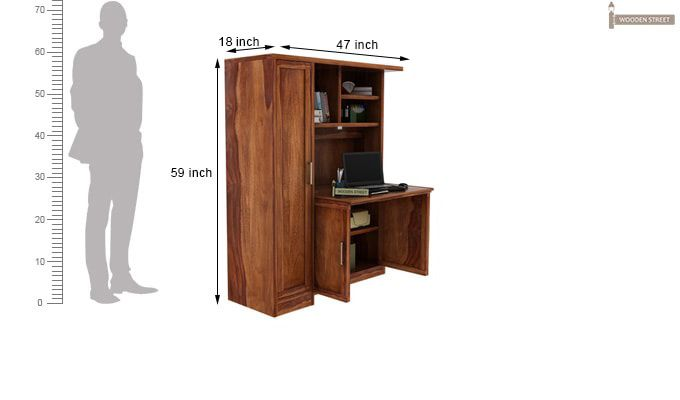 Amstel Study Table Cum Bookshelf (Teak Finish)-3