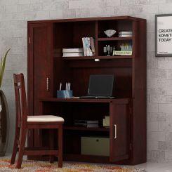 Amstel Study Table Cum Bookshelf (Mahogany Finish)
