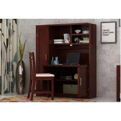 Amstel Study Table Cum Bookshelf (Mahogany Finish)