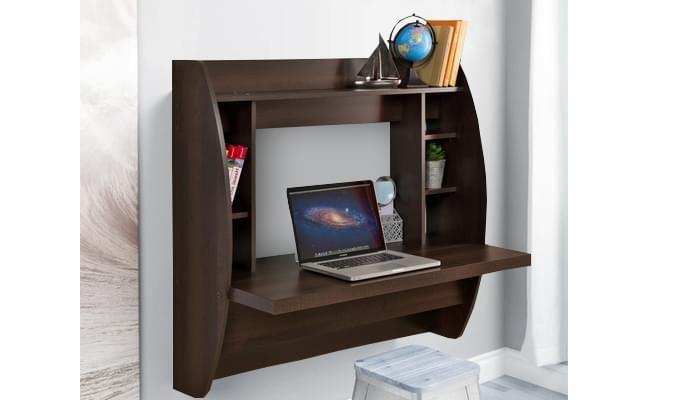 Blair Wall Mounted Study Desk (Walnut Finish)-1