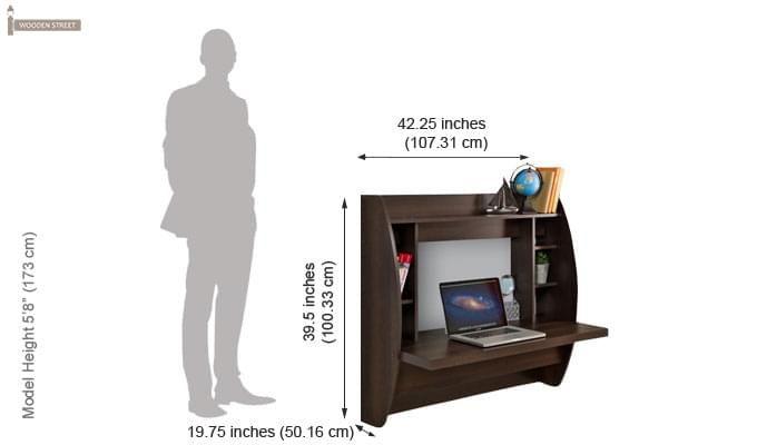 Blair Wall Mounted Study Desk (Walnut Finish)-3