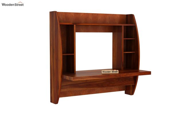 Blair Wall Mounted Study Desk (Honey Finish)-3