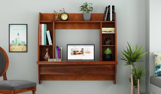 Blair Wall Mounted Study Desk (Honey Finish)-2