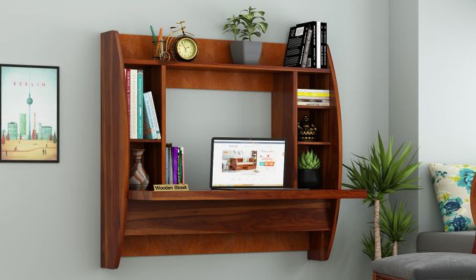 Blair Wall Mounted Study Desk (Honey Finish)-1