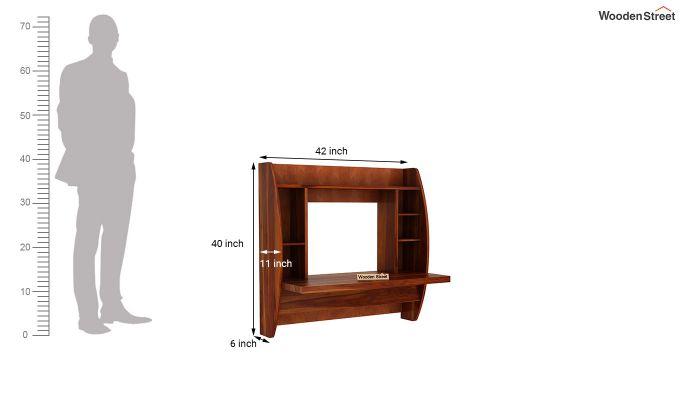 Blair Wall Mounted Study Desk (Honey Finish)-5