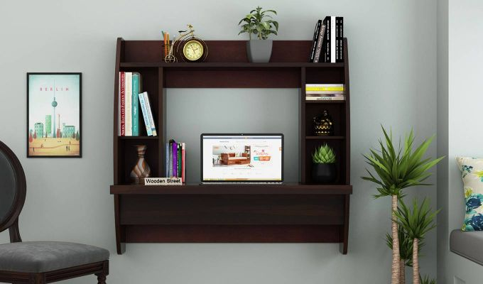 Blair Wall Mounted Study Desk (Walnut Finish)-2