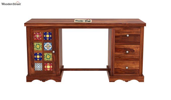 Boho Study Table (Honey Finish)-3