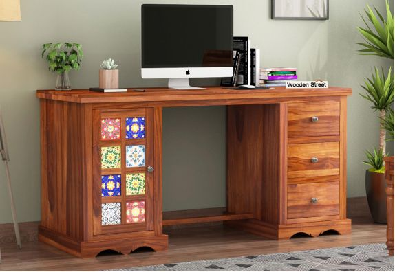 Buy Boho Office Table Honey Finish Online In India Wooden Street