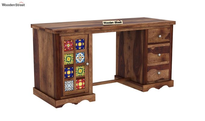 Boho Study Table (Teak Finish)-2
