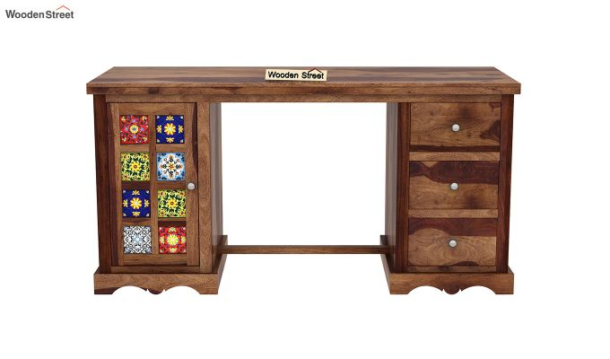 Boho Study Table (Teak Finish)-3