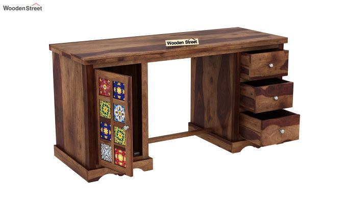 Boho Study Table (Teak Finish)-4