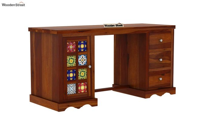 Boho Study Table (Honey Finish)-2