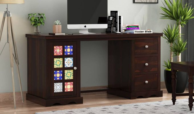 Boho Office Table (Walnut Finish)-1