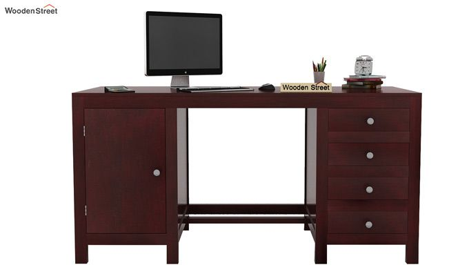 Brason Study Table With Drawer And Cabinet (Mahogany Finish)-2