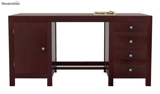 Brason Study Table With Drawer And Cabinet (Mahogany Finish)-4