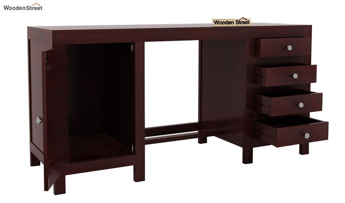 Brason Study Table With Drawer And Cabinet (Mahogany Finish)-5