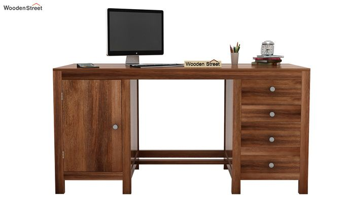 Brason Study Table With Drawer And Cabinet (Teak Finish)-2