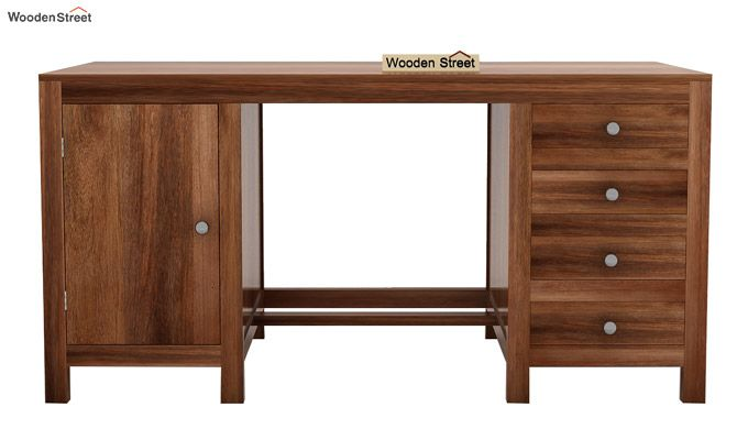 Brason Study Table With Drawer And Cabinet (Teak Finish)-4