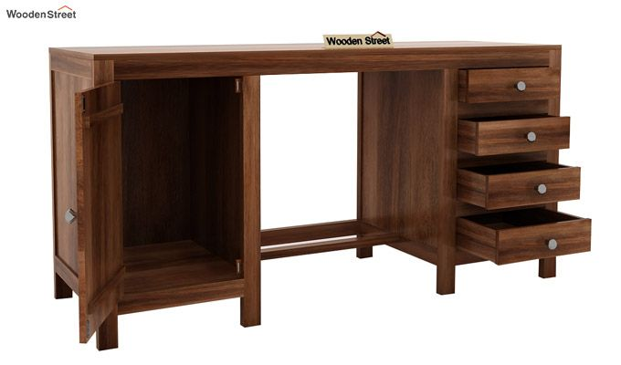 Brason Study Table With Drawer And Cabinet (Teak Finish)-5