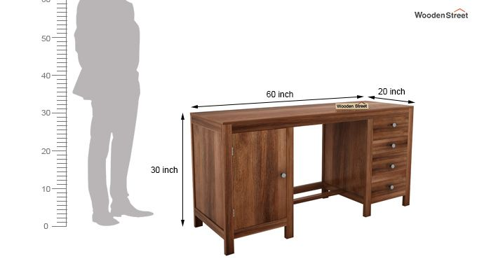 Brason Study Table With Drawer And Cabinet (Teak Finish)-6