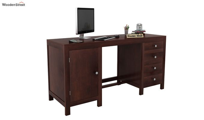 Brason Study Table With Drawer And Cabinet (Walnut Finish)-1