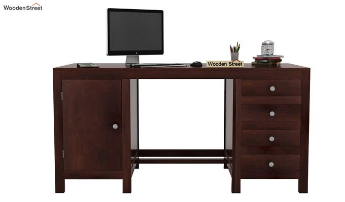 Brason Study Table With Drawer And Cabinet (Walnut Finish)-2