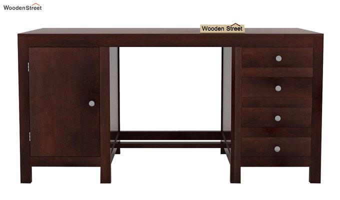 Brason Study Table With Drawer And Cabinet (Walnut Finish)-4