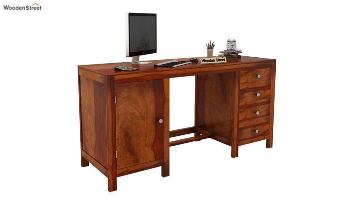 Brason Study Table (Sheesham Wood, Honey Finish)-2