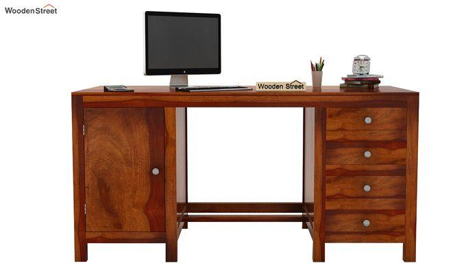 Brason Study Table (Sheesham Wood, Honey Finish)-3