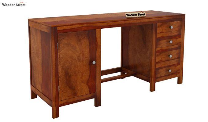 Brason Study Table (Sheesham Wood, Honey Finish)-4