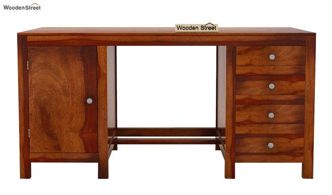 Brason Study Table (Sheesham Wood, Honey Finish)-5