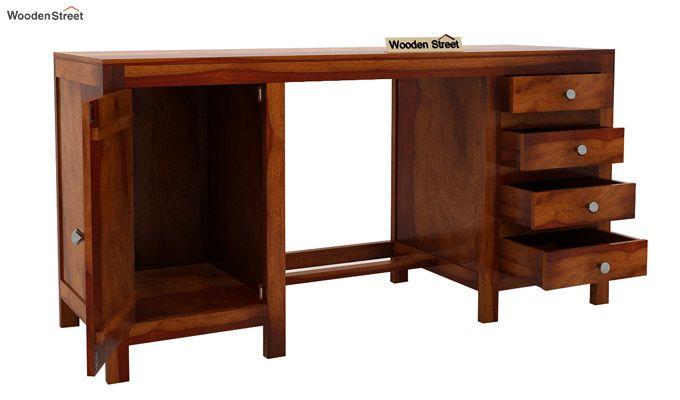 Brason Study Table (Sheesham Wood, Honey Finish)-6