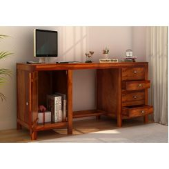 Brason Study Table (Sheesham Wood, Honey Finish)